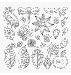 Floral line elements set vector