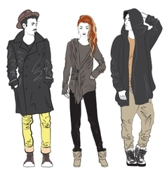 Fashion man and woman sketch vector