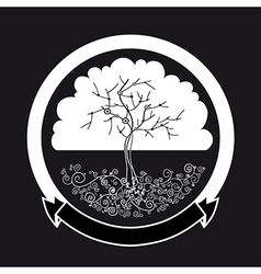 Abstract white tree silhouette vector