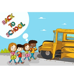 Back to school education kids walking to school vector image vector image