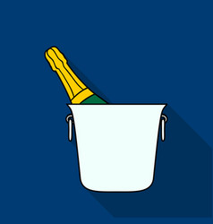 bottle of champagne in an ice bucket icon in flat vector image vector image