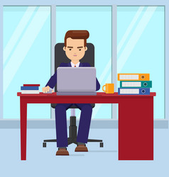 Businessman working in office with a laptop vector