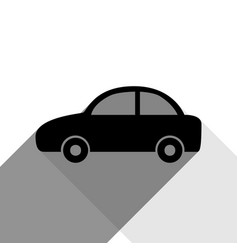 Car sign black icon with two vector