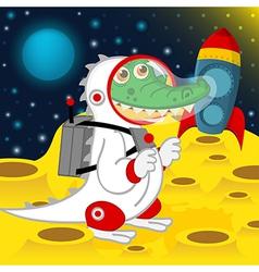 crocodile astronaut on moon vector image