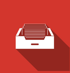 Drawer with documents icon with long shadow vector