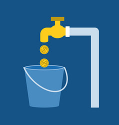 Faucet with gold coins vector