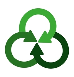 Green crossed recycling symbol shape with arrows vector