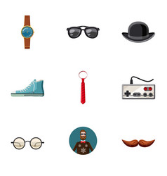 Hipster equipment icons set cartoon style vector