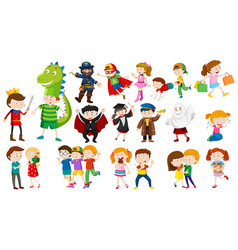 many kids in different costumes vector image vector image