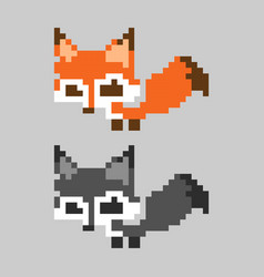orange cute pixelated fox mammal set vector image vector image