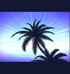 Palm tree on blue sunrise background vector