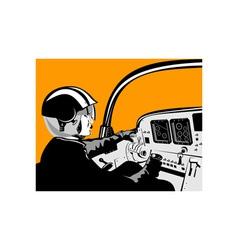 Pilot in cockpit vector