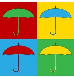 Pop art umbrella icons vector