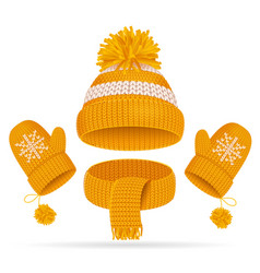 Realistic 3d hat with a pompom scarf and mitten vector