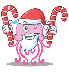 Santa with candy cute jellyfish character cartoon vector