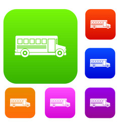 school bus set color collection vector image
