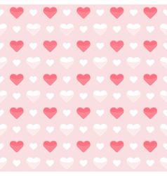 Seamless pattern cute red and white hearts on a vector