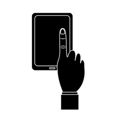 Tablet with hand icon image vector