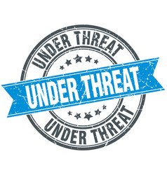 Under threat blue round grunge vintage ribbon vector