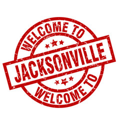 Welcome to jacksonville red stamp vector