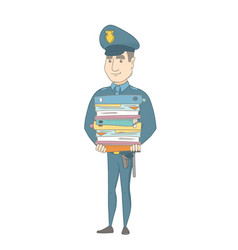 Young caucasian policeman holding pile of folders vector