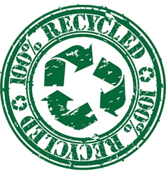 100 percent recycled stamp vector image vector image
