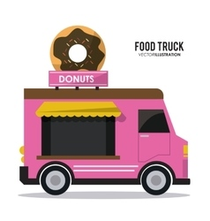 Donut truck fast food icon graphic vector