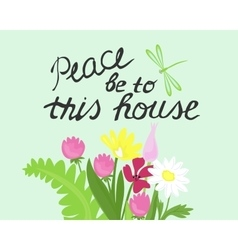 Bible lettering peace to this house made next vector
