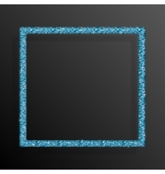 Frame blue sequins square glitter sparkle vector