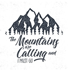 Hand drawn mountain advventure label calling vector
