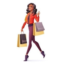 African woman walking with shopping bags vector