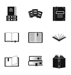 Reading icons set simple style vector