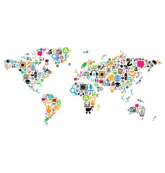 World map made of icons vector