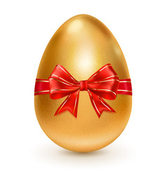 golden easter egg with red bow vector image