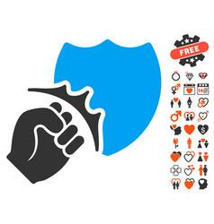 Fist strike shield icon with valentine bonus vector