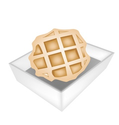Baked round waffles in white paper box vector