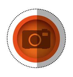 orange round symbol digital camera icon vector image