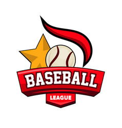 Baseball league logotype with ball star and vector