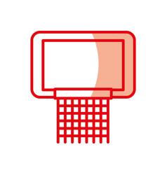 Shadow red basketball hoop vector