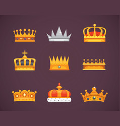 Collection of crown awards for winners champions vector