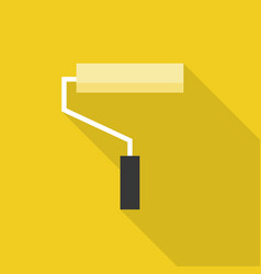 yellow paint roller icon with long shadow vector image