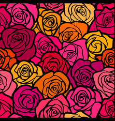 Colorful vintage roses seamless background vector