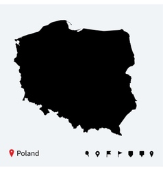 High detailed map of poland with navigation pins vector