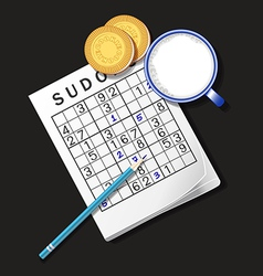 Sudoku game mug of milk and cookie vector