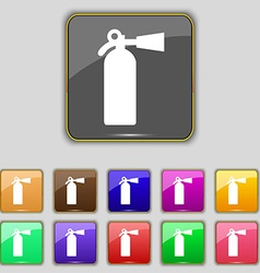 Extinguisher icon sign set with eleven colored vector