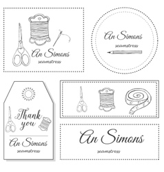 Hand drawn sewing identity logo vector