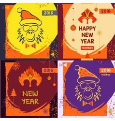 Set colorful mask christmas monkey vector