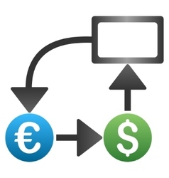 Euro dollar flow chart gradient icon vector