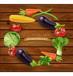 Vegetables in a circle isolated on wooden backgro vector