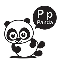 P Panda cartoon and alphabet for children to vector image